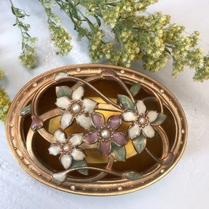 Jewelry metal case floral BURNES OF BOSTON painted